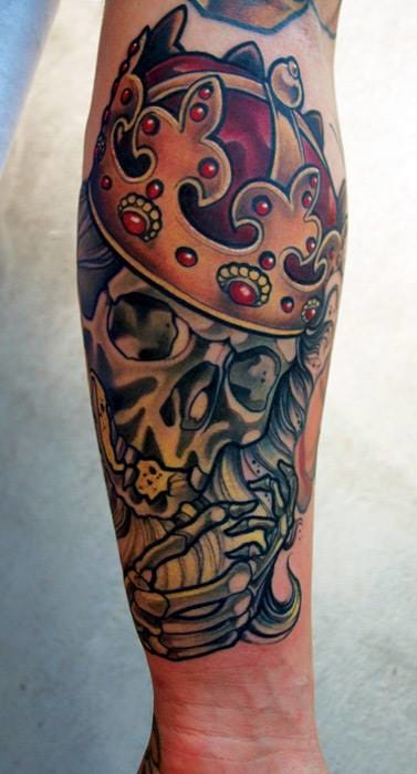 Crowned Skull Tattoo by Marco Schmidgunst