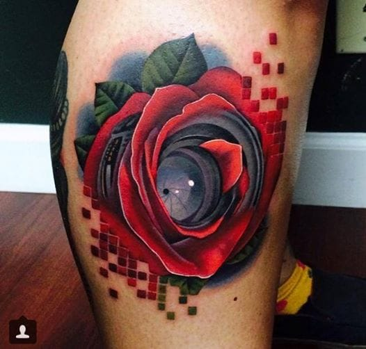 A rose with lens and pixels, also by Acosta.