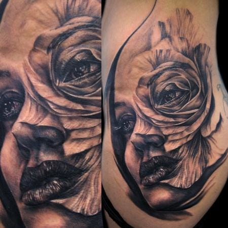 Roses could also morph with a woman's portrait. Here by Tony Mancia.
