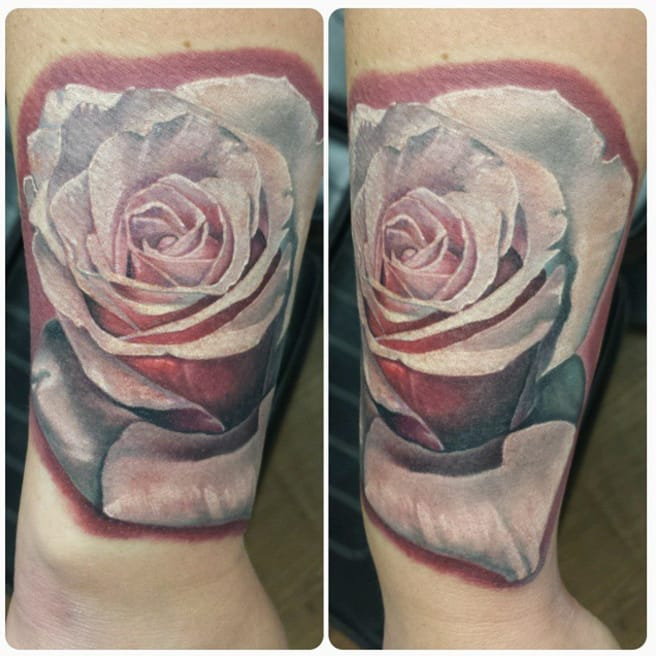 White rose tattoo from Instagram @robbylatos.