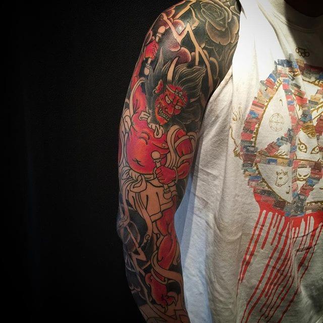 Raijin In Progress Tattoo by Rodrigo Melo