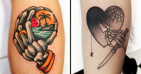 18 Unsettling Skeleton Hand Tattoos