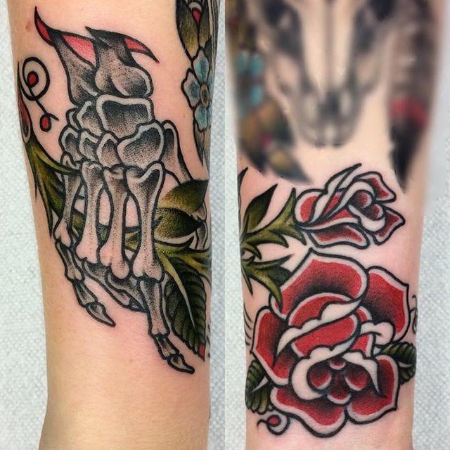 Sweet Skeleton Hand Rose Tattoo by Spencer Harrington