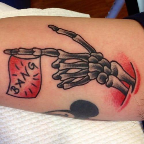 Badass Skeleton Hand Tattoo by William Brown