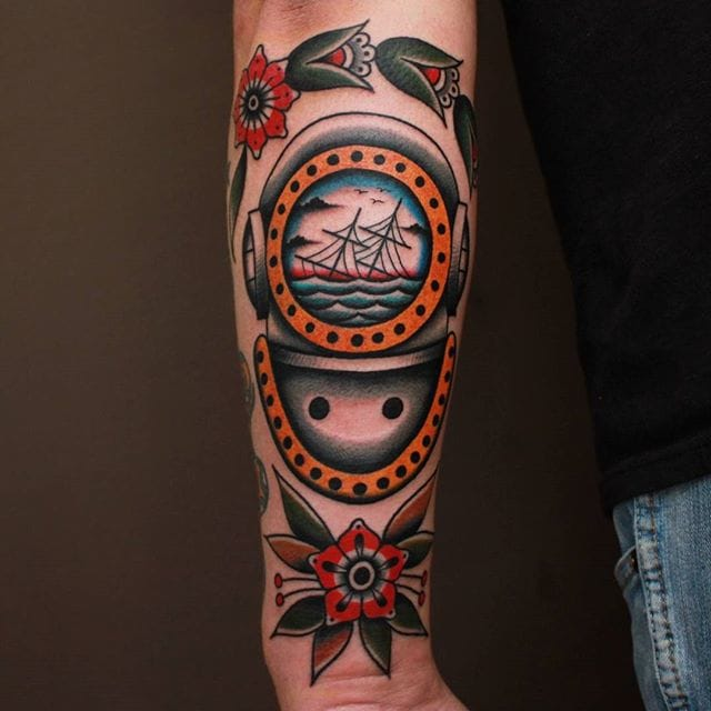 Diving Helmet Tattoo by Vic James