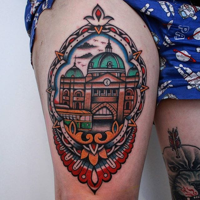 Flinders Street Stattion Tattoo by Vic James