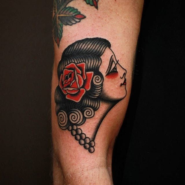 Girl Head Tattoo by Vic James