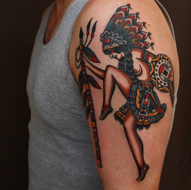 Indian Girl Tattoo by Vic James