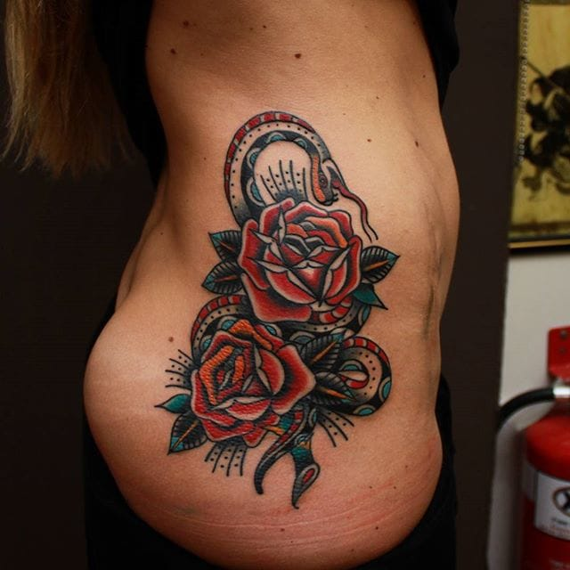 Rose Snake Tattoo by Vic James