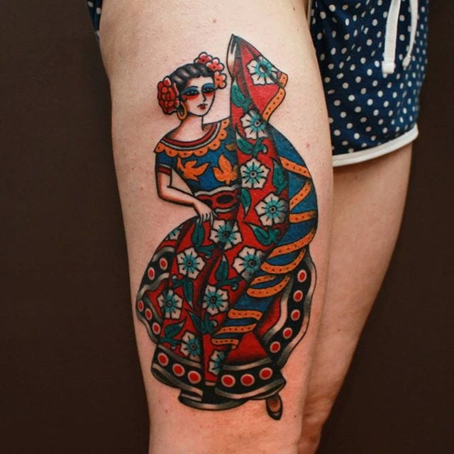 Dancing Woman Tattoo by Vic James