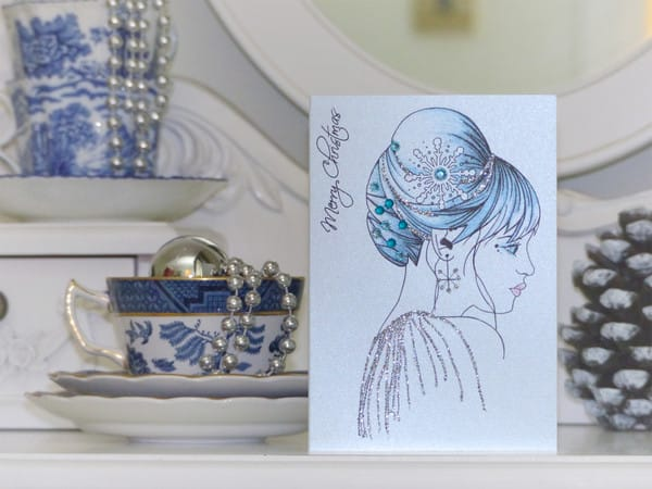 Snow princess tattoo design on Christmas card, by Vicki Ashurst.
