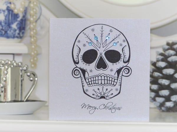 Frosted day of the dead sugar skull on Christmas card, by Vicki Ashurst.
