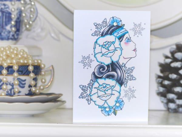 Winter flower girl, handmade Christmas card by Vicki Ashurst.