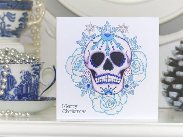Snowflake day of the dead sugar skull tattoo design by Vicki Ashurst.