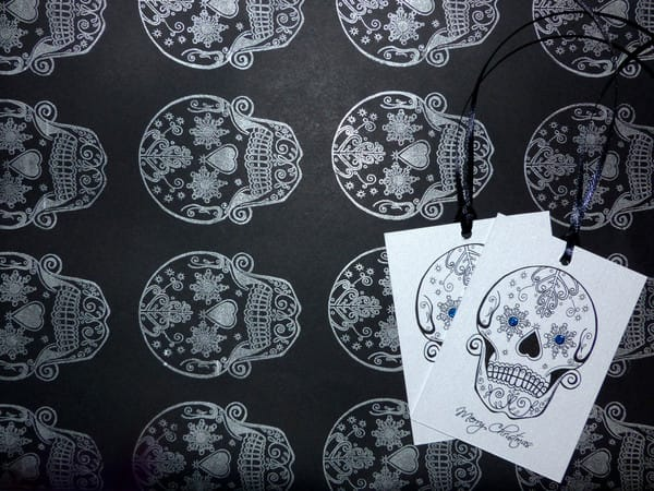 Day of the dead Christmas wrapping paper.
