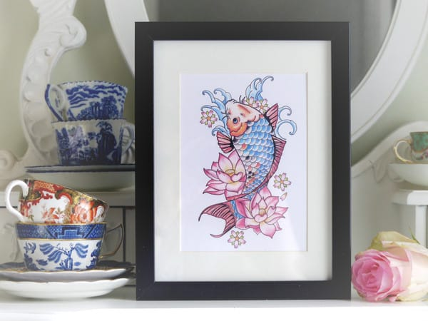 Vicki also sells tattoo design prints, like this koi carp.