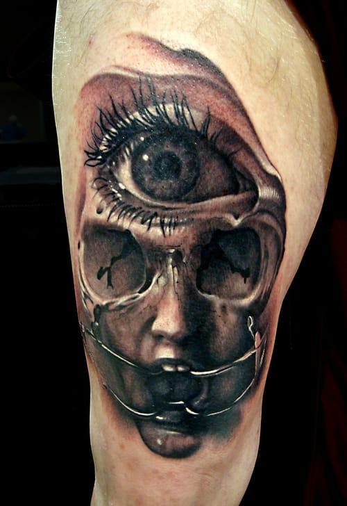 Insanely original: Hyper-realistic, black and gray erotica. Third Eye Skull by Nick Chaboya