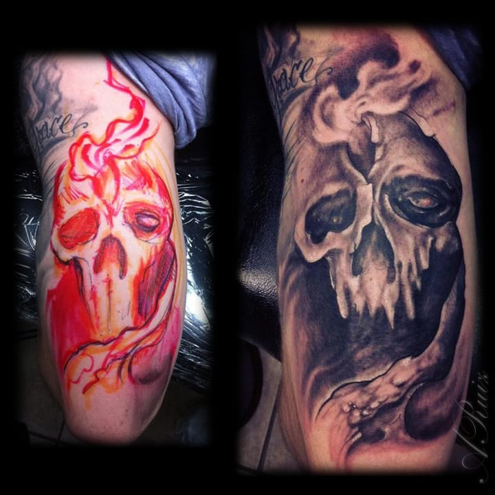 Freehand Skull Tricep by A-I-M-L, artismylife