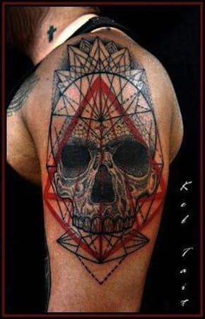 Third Eye Skull by abstract and dotwork tattoo artist Kel Tait, Melbourne, Australia
