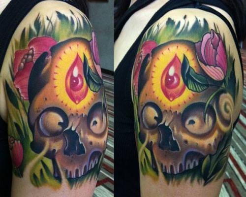 Neo-traditional colorful Third Eye Skull with flowers by VinceVillalvazo, vincevillalvazo.com
