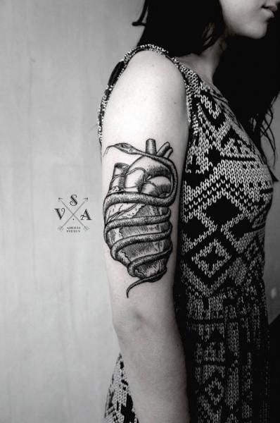 Dotwork Heart Snake Tattoo by Master Tattoo