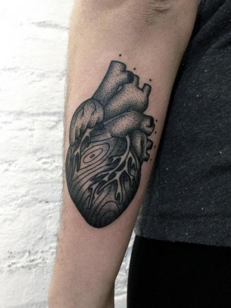 Dotwork Heart Tattoo by Philippe Fernandez