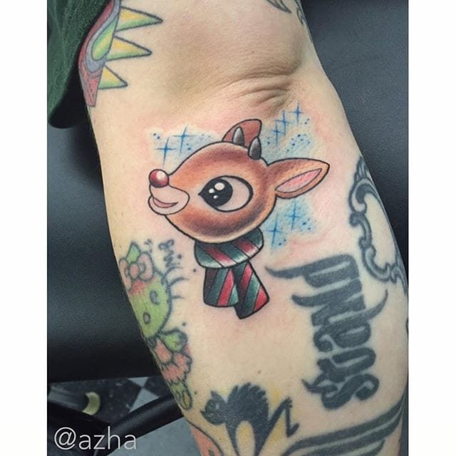 Rudolph the red nosed reindeer christmas tattoo/ Source: Instagram @azha