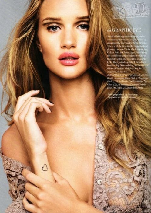 2. Rosie Huntington-Whiteley model tattoo/ Source: Pinterest