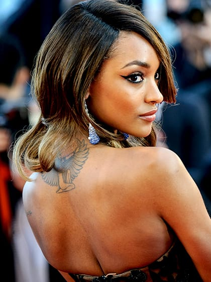 4. Jourdan Dunn got the Egyptian goddess Isis tattoo on her neck