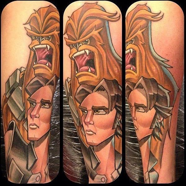 Chewbacca and Han Solo Tattoo by Mat Lapping
