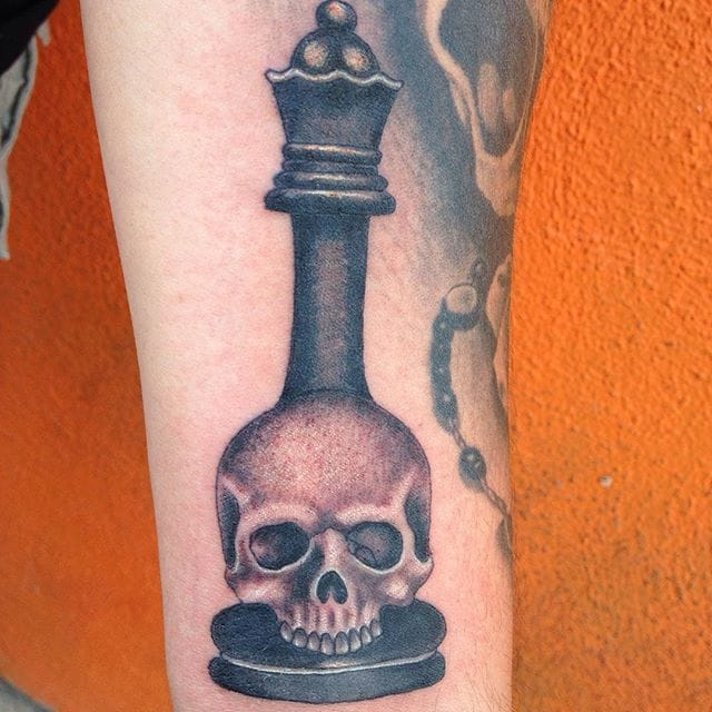 Chess Piece Skull Tattoo by Louie Figueroa