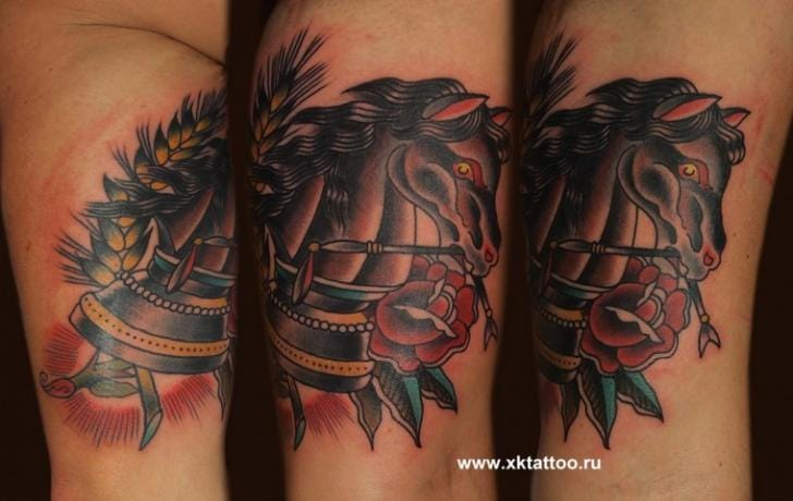 Horse Chess Tattoo by XK Tattoo