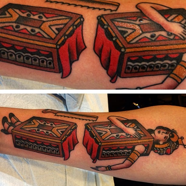 Classic Magicians Saw Box Tattoo by Ryan Cooper Thompson