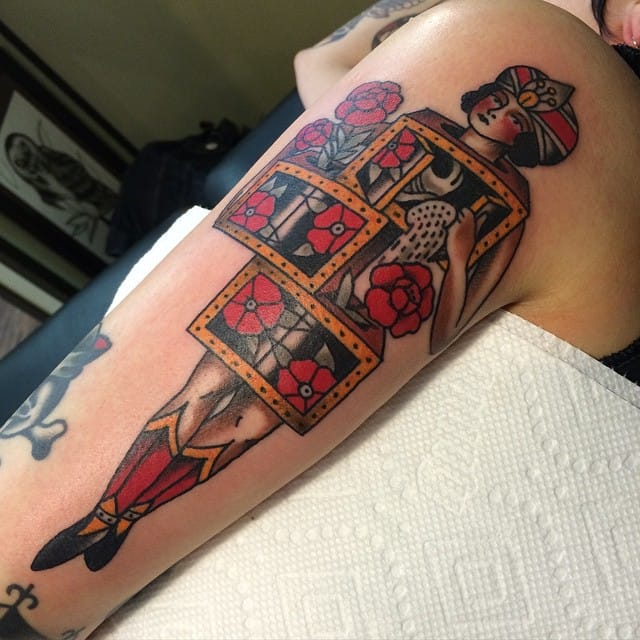 Floral Magicians Saw Box Tattoo by Ryan Cooper Thompson