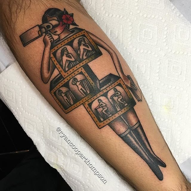 Picture Magicians Saw Box Tattoo by Ryan Cooper Thompson