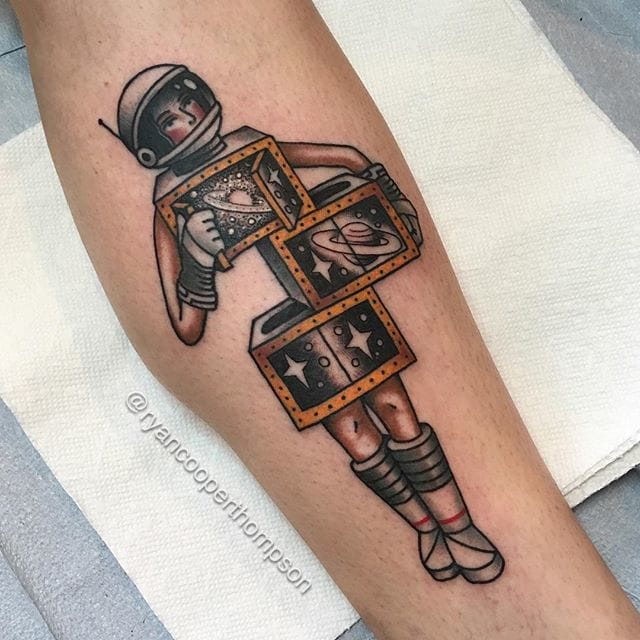 Space Magicians Saw Box Tattoo by Ryan Cooper Thompson