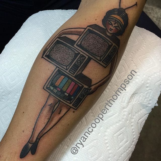 Television Magicians Saw Box Tattoo by Ryan Cooper Thompson