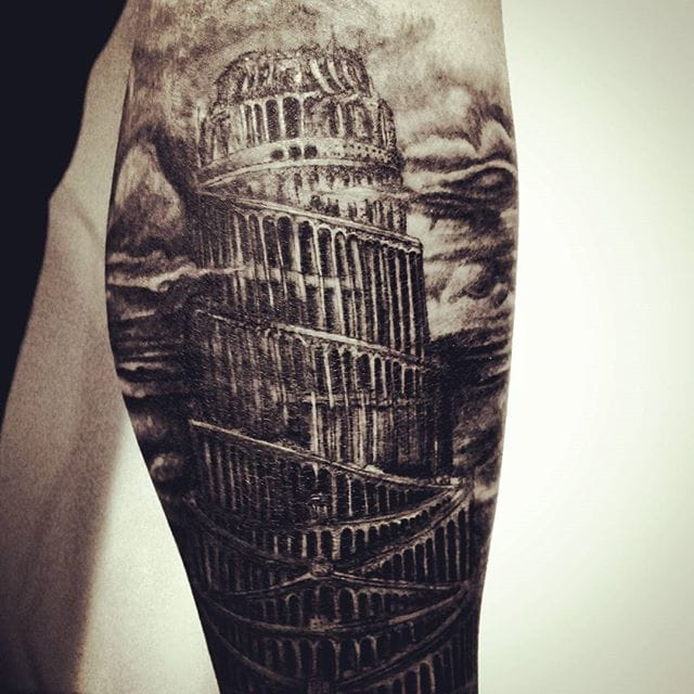 Dark Tower of Babel Tattoo by Bartosz Suszko