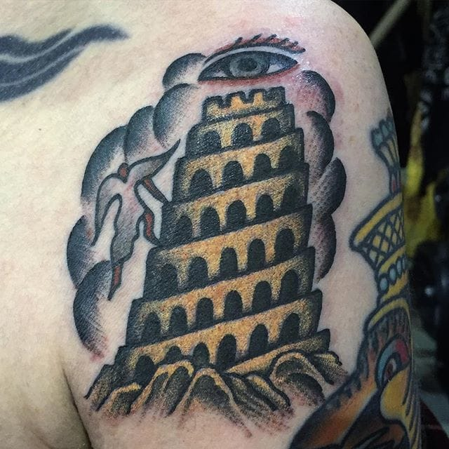 Bold Tower of Babel Tattoo by Matt Bivetto