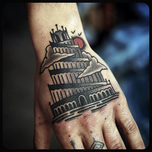Great Tower of Babel Tattoo by Philip Yarnell