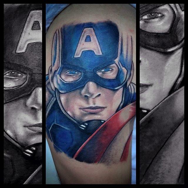 Captain America Tattoo by Aaron Belcher