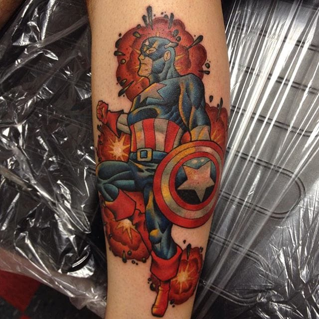 Captain America Tattoo by Calvin Von Crush
