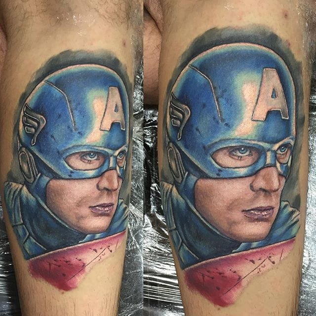 Cool Captain America Tattoo by Chris Hatch