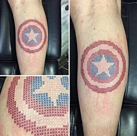 Cross Stitch Captain America Tattoo by Eva Krbdk