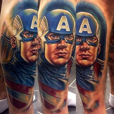Captain America Tattoo by Roman Abrego