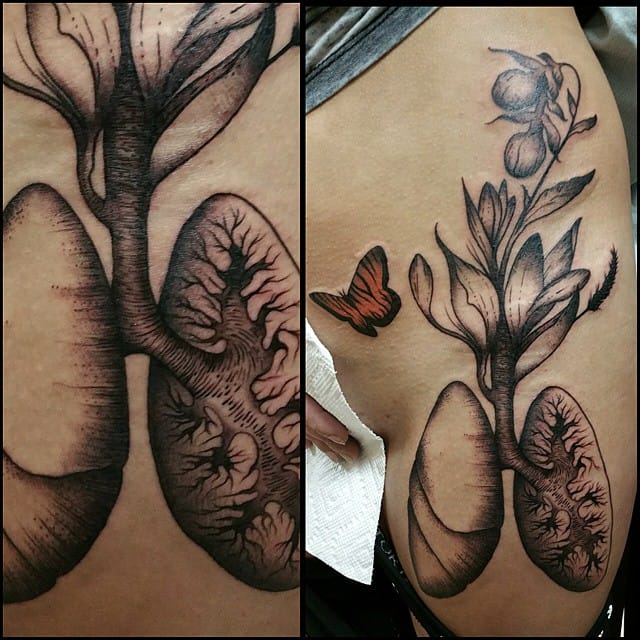 Delicate Lung Tattoo by Heather Beebe
