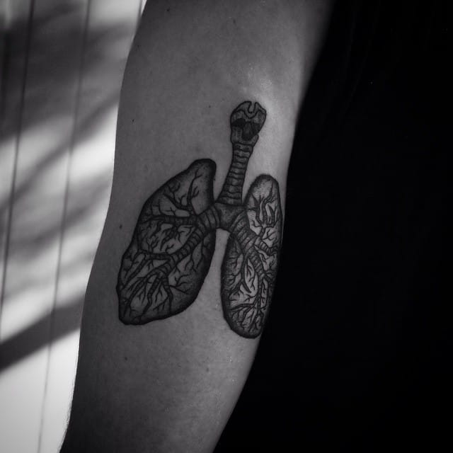 Detailed Lung Tattoo by Alexander X James
