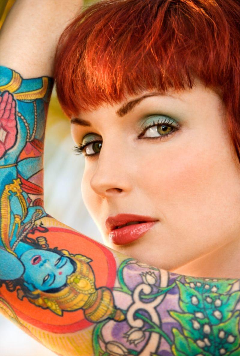 Bright colors tattoo sleeve, Vishnu tattoo, protection tattoo