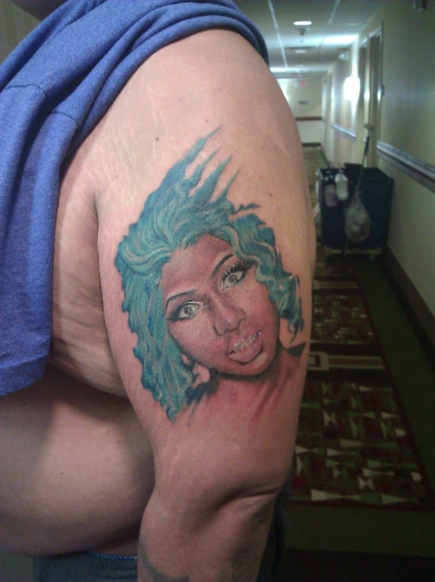 6. Bizarre - Nicki Minaj celebrity portrait tattoo
