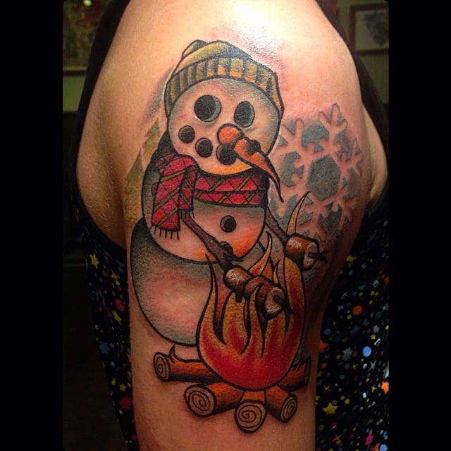 Snowman Tattoo by Amalie Ink